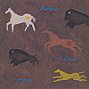 Scrapbookers Painted Page® 12x12 *Anceint Cave Art* Buffalo & Horse Printed SCRAPBOOK PAPER