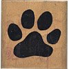"Comotion® 1-5/8"" x 1-5/8"" *Cat Paw Print* Wood Block Mounted RUBBER STAMP ~ Circa 1985"