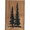 "Comotion&reg 1-3/8"" x 2-1/8"" *Pine Trees* Wood Block Mounted RUBBER STAMP ~ Circa 1991"