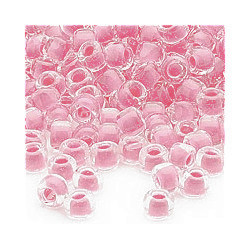 "4mm Transparent, Hot Pink Lined, Matte Czech Glass ""E"" BEADS (Rocaille)"