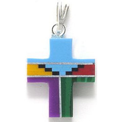 13x15mm Inlaid Block Gemstone & Sterling Silver CROSS, CRUCIFIX Pendant w/Sterling Silver Bail