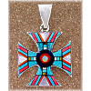 "1-11/16"" x 1-1/8"" Micro Inlaid Gemstone & Sterling Silver Pendant - *CROSS*"