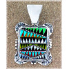 "1-13/16 x 1-1/8"" Micro Inlaid Gemstone & Sterling Silver Pendant - *RUG PATTERN*"