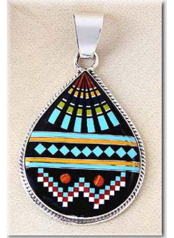 "1-1/4"" x 2-3/16"" Micro Inlaid Gemstone & Sterling Silver Pendant - *TEARDROP*"
