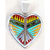 "1-1/4"" x 1-3/4"" Micro Inlaid Gemstone & Sterling Silver Pendant - *HEART*"