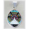 "1-1/16"" x 2-1/8"" Micro Inlaid Gemstone & Sterling Silver Pendant - *OVAL*"