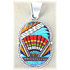 "1-1/18"" x 2-1/4"" Micro Inlaid Gemstone & Sterling Silver Pendant - *OVAL*"