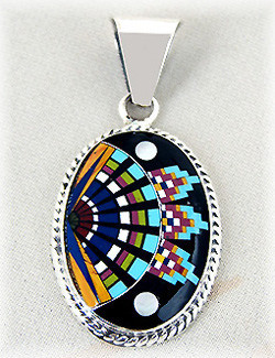 "7/8"" x 1-3/16"" Micro Inlaid Gemstone & Sterling Silver Pendant - *OVAL*"