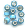5x7mm *Vintage* Turquoise Blue White-Heart PONY / ROLLER Beads