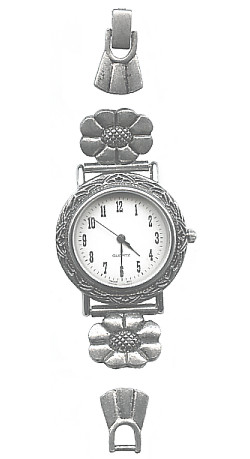 5-Piece Antiqued Silvertone Southwestern  Floral *Beadable* WATCH KIT